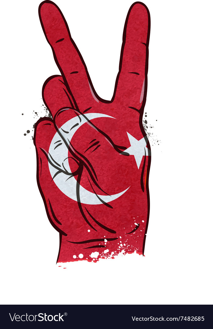 Hand gesture of victory flag Turkey vector image