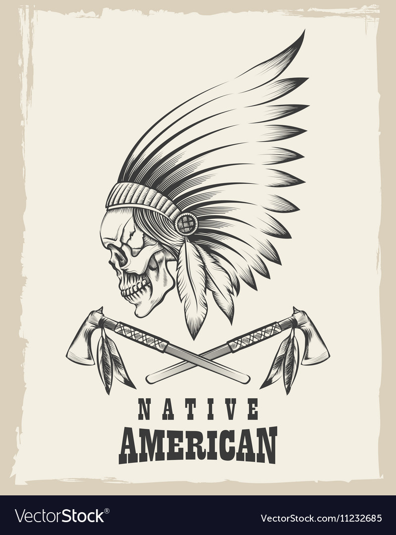 Indian Skull with Tomahawk Emblem vector image
