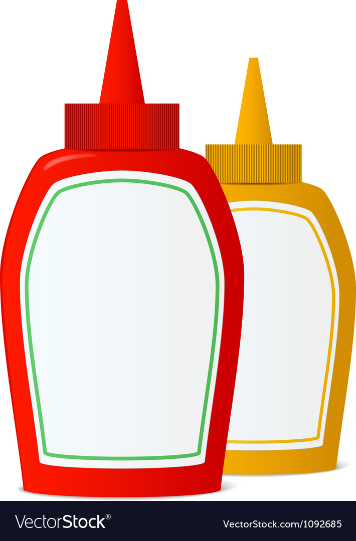 Ketchup and mustard bottles vector image