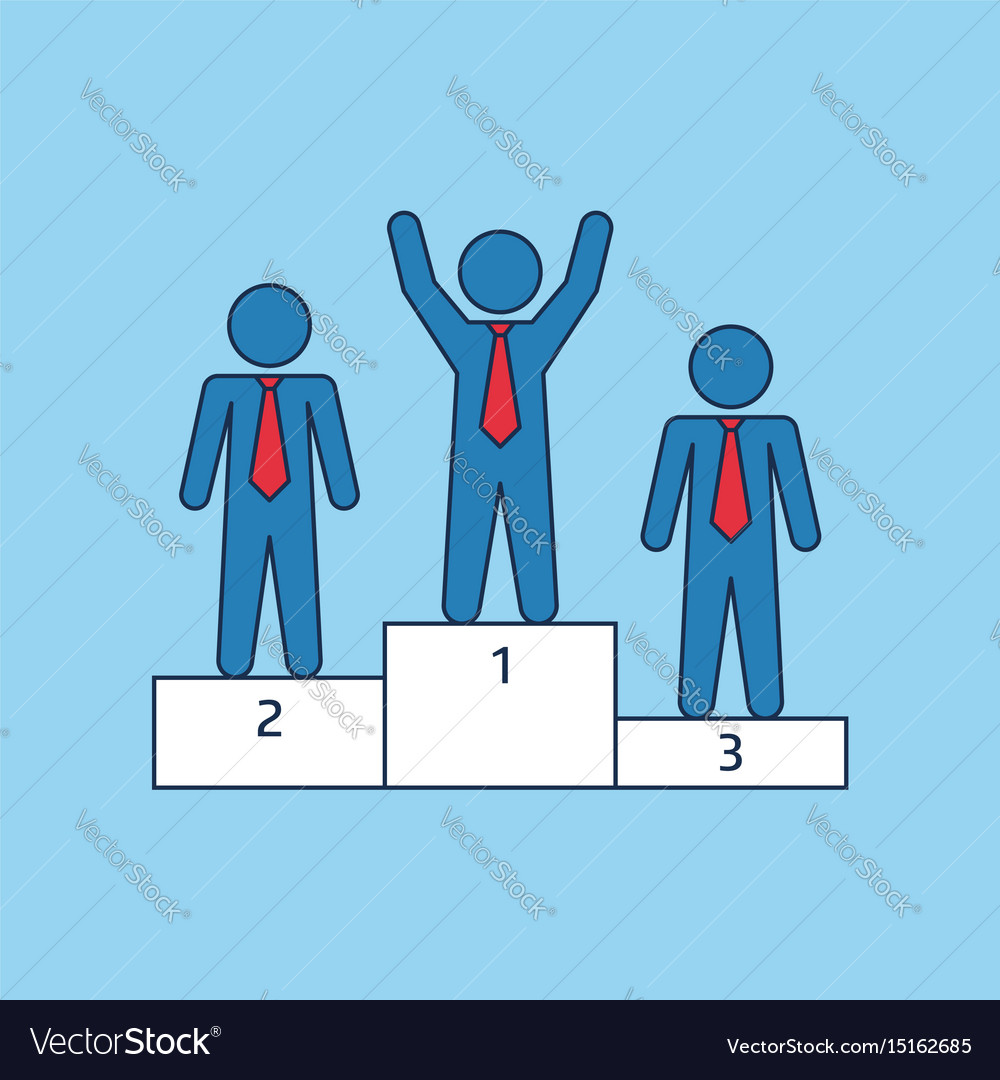 Winner podium with three businessmans vector image