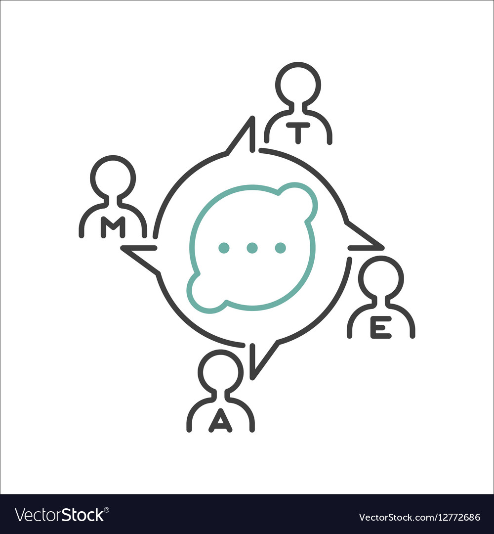 Business teamwork outline icon vector image