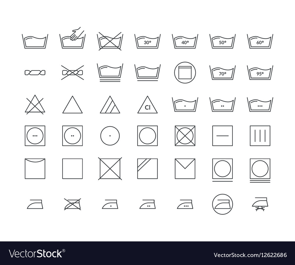 Laundry Icon Thin Line Set vector image