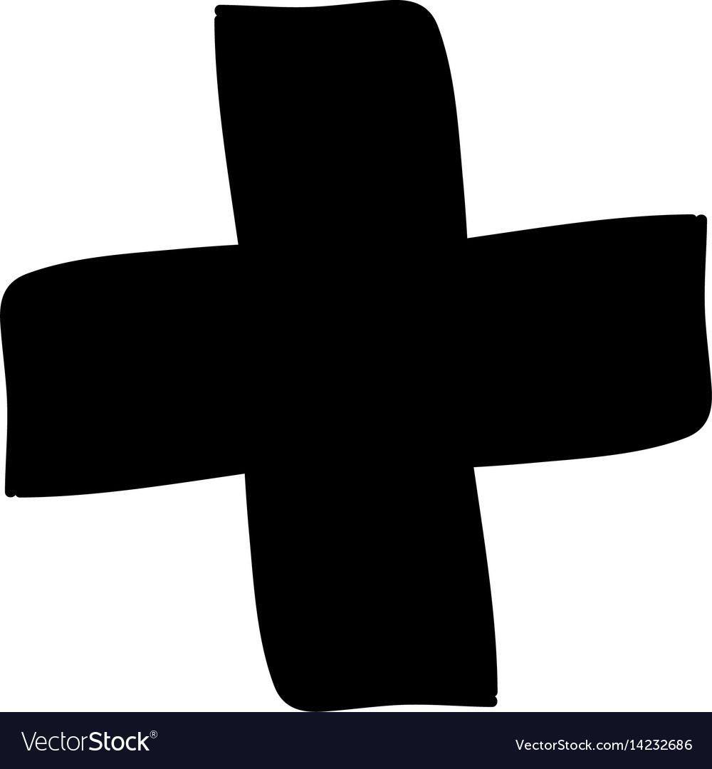 Monochrome hand drawn silhouette of medical cross vector image