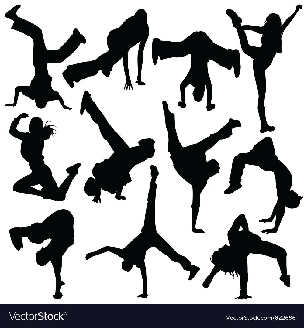Silhouette break dance vector image