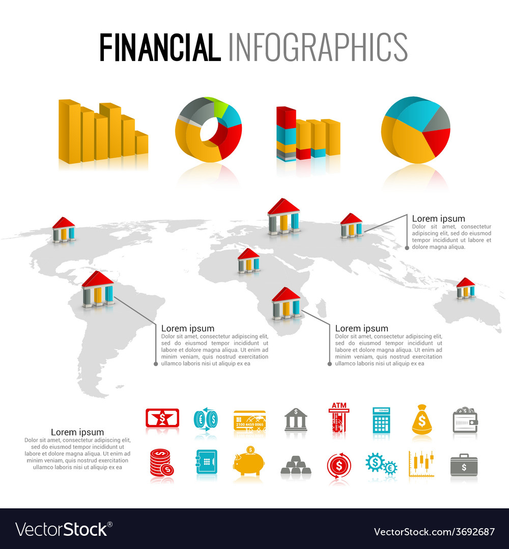 Financial infographic set vector image