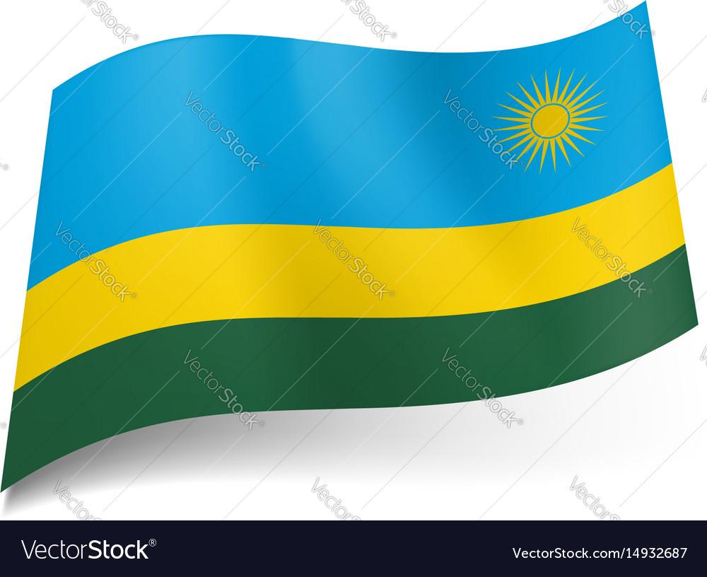 National flag of rwanda wide blue narrow yellow vector image