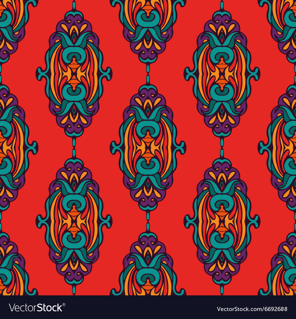 Damask colorful abstract seamless pattern vector image
