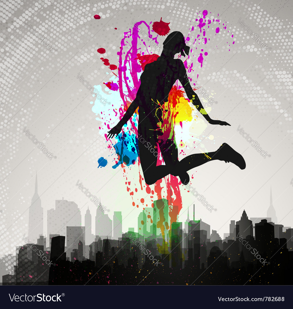 Girl jumping over city vector image