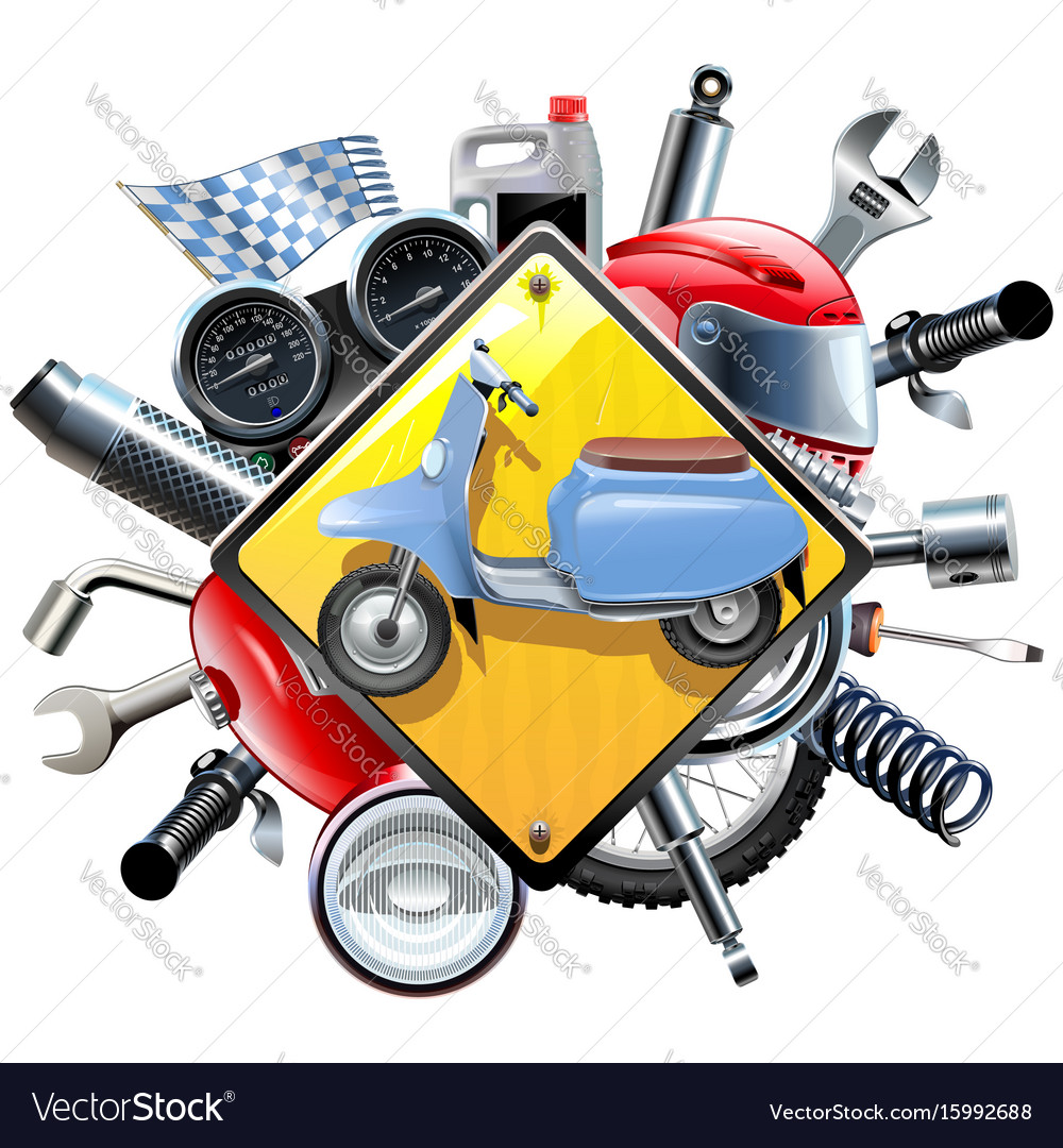 Motorcycle spares with scooter vector image