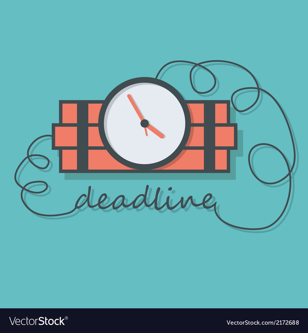 Time bomb with wire as deadline vector image