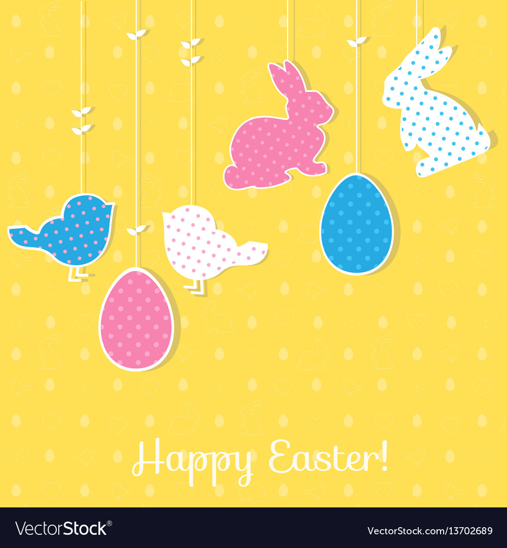 Easter paper decoration in the form of rabbits vector image