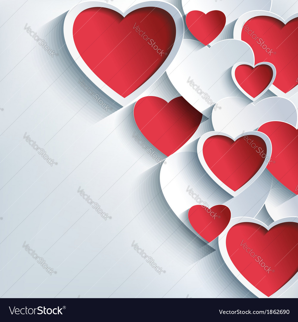 Stylish Valentine background 3d red gray hearts vector image