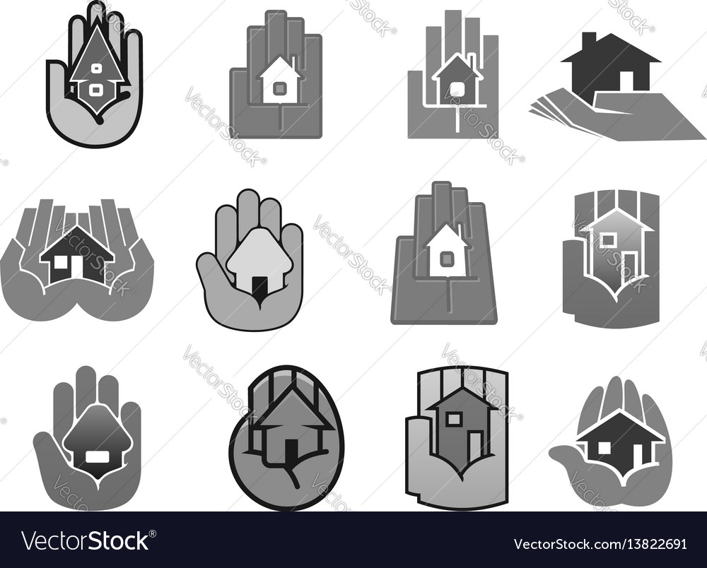 House insurance or security hand icons set vector image