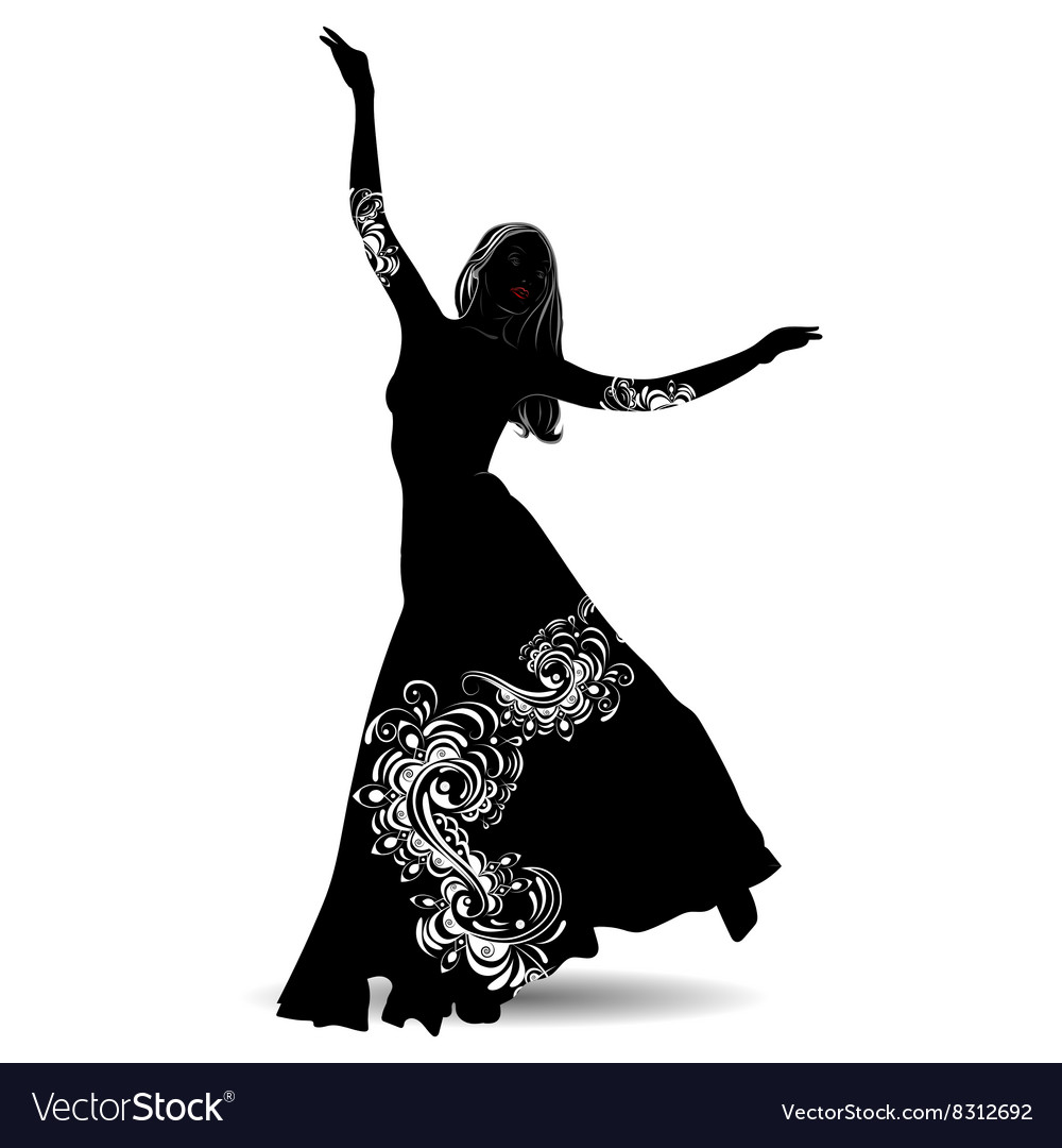 Silhouette belly dancer 2 vector image