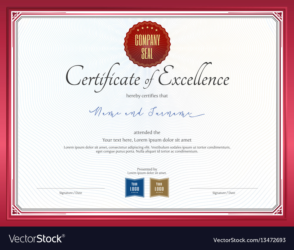 Certificate of excellence template with red border certificate of excellence template with red border vector image yadclub Image collections