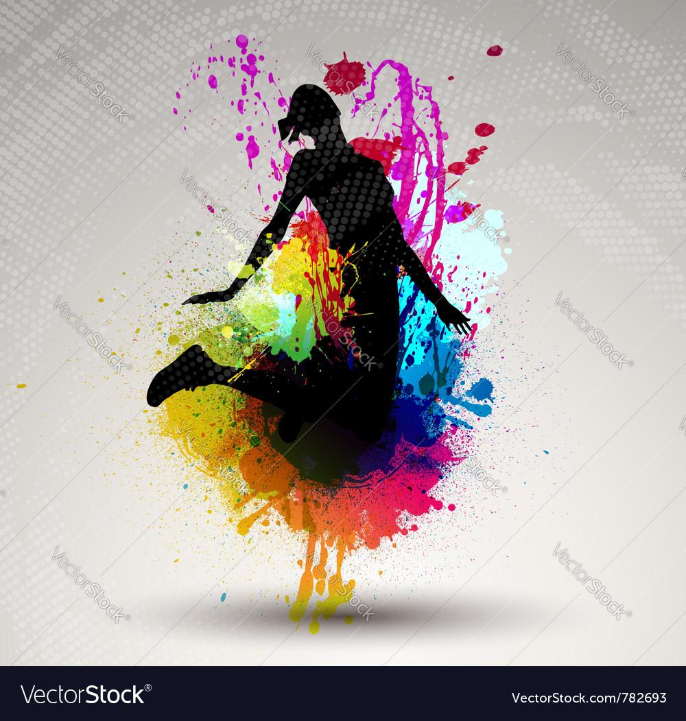 Girl jumping over ink splash vector image