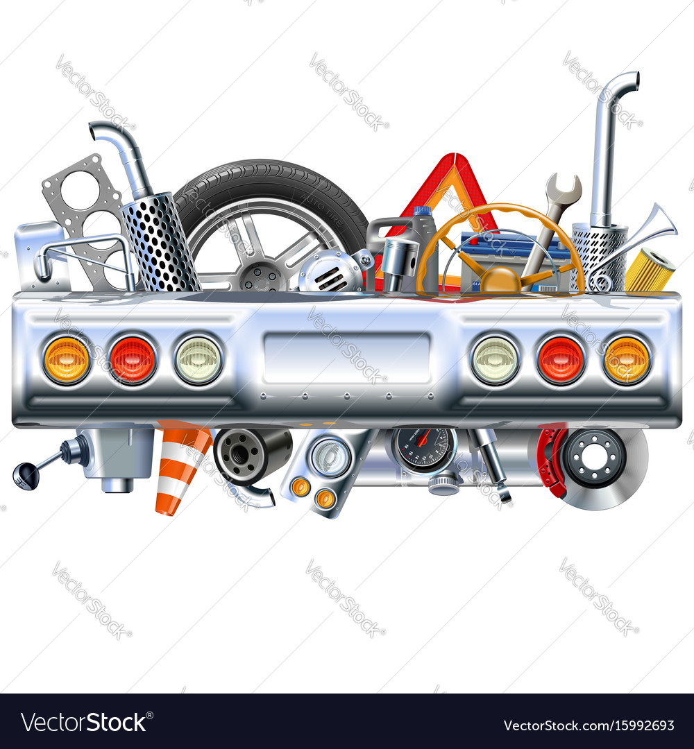 Rear car part with spares vector image