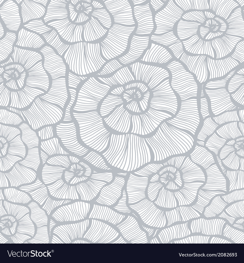 Seamless monochrome floral background vector image