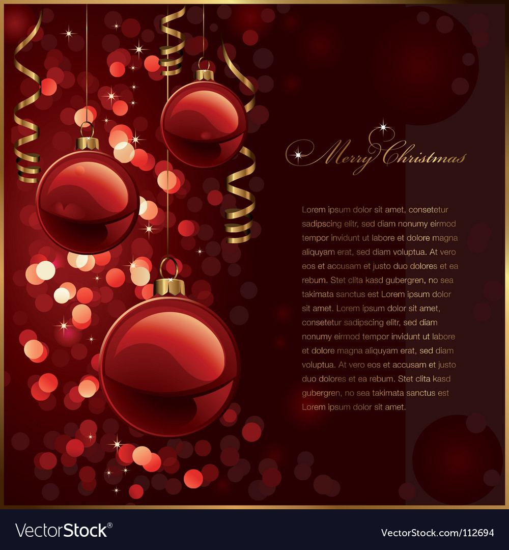 Christmas background with red baubles vector image