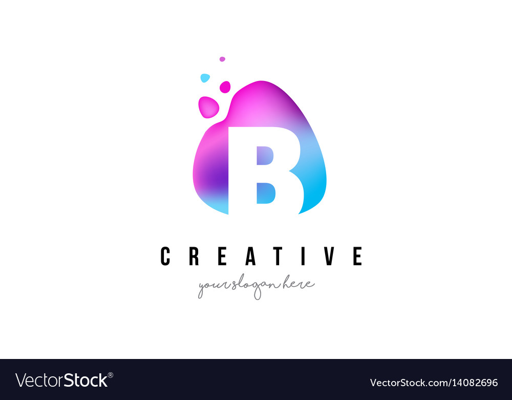 B letter dots logo design with oval shape vector image