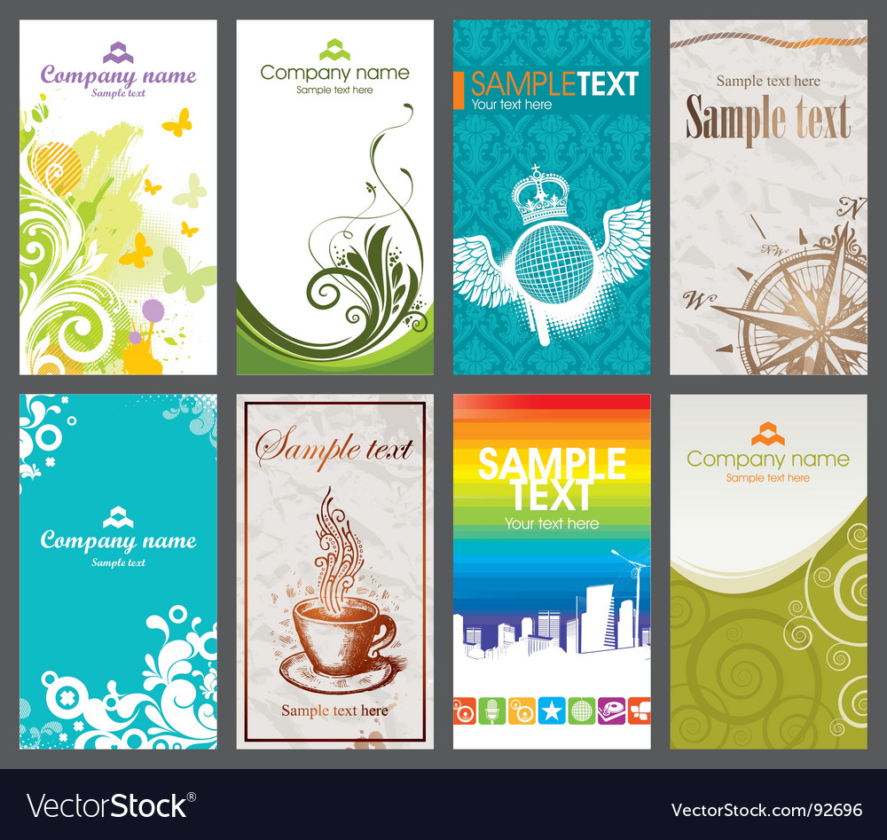 Collection of vertical business card Royalty Free Vector