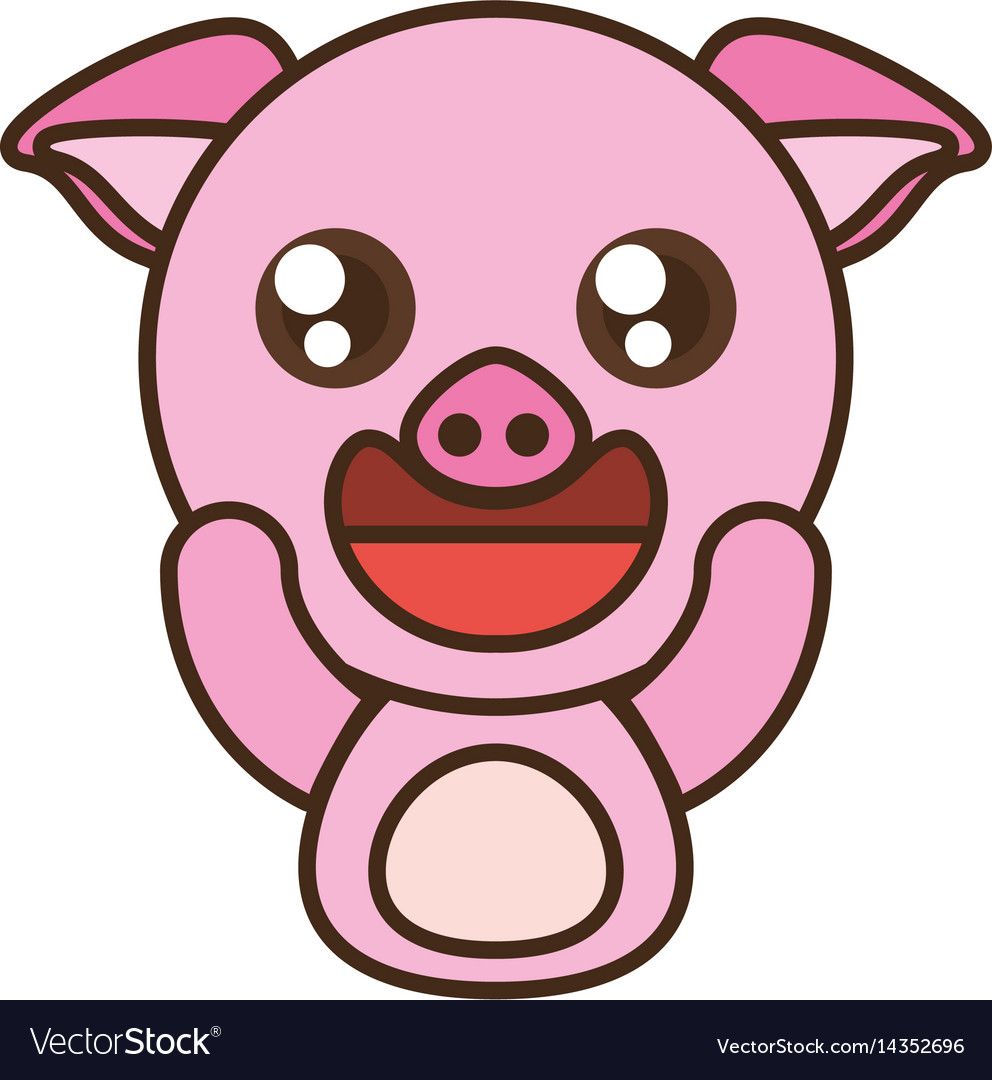 Pig baby animal kawaii design vector image