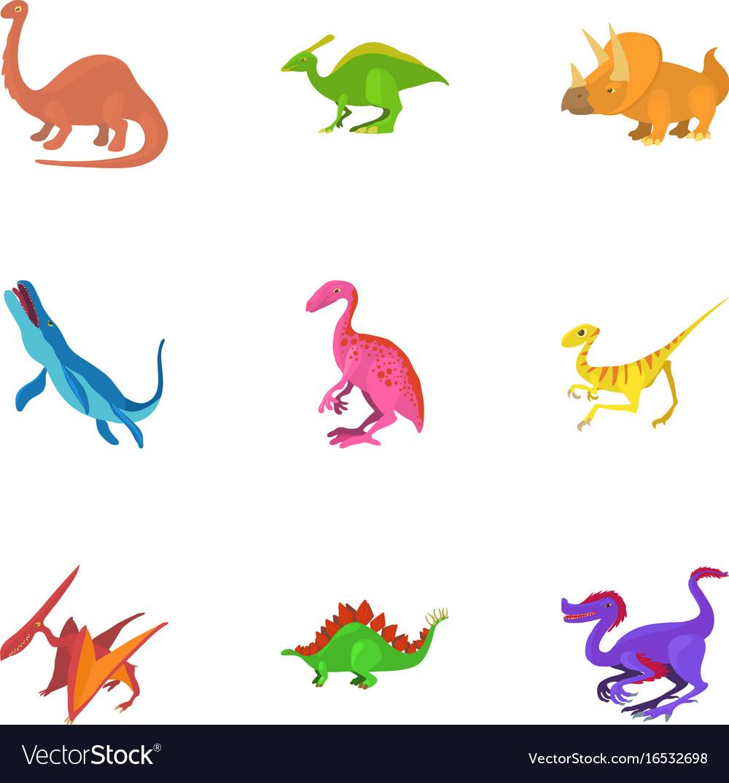 Different dinosaur icons set cartoon style vector image