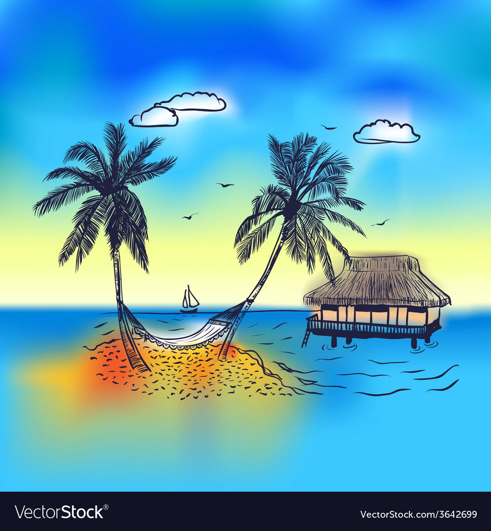 Paradise island with bungalow palm tree vector image