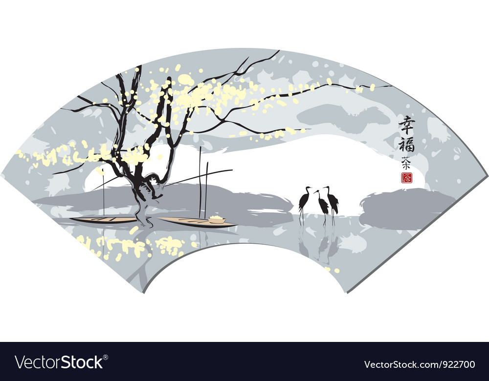 Chinese watercolor vector image