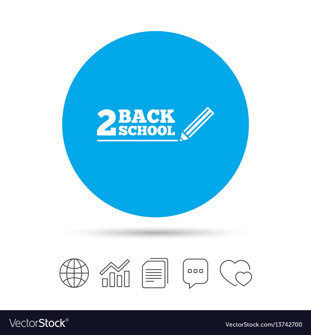 Back to school sign icon back 2 school symbol vector image