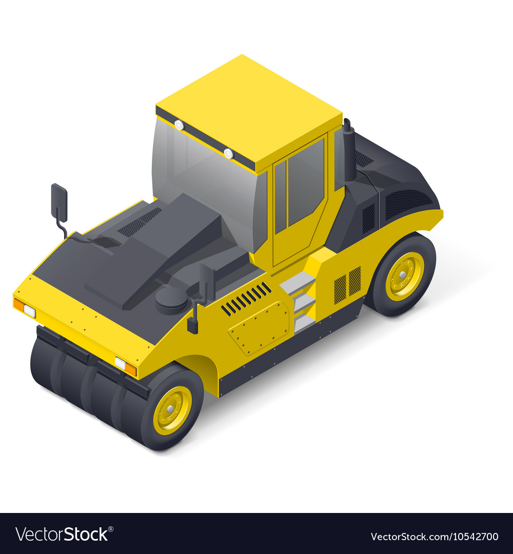 Pneumatic road compactor icon vector image