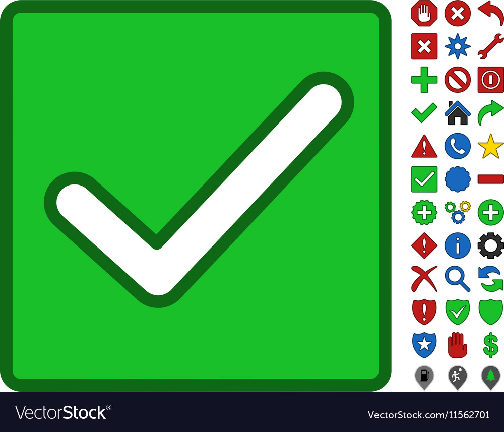 Valid Checkbox Symbol With Toolbar Icon Set vector image