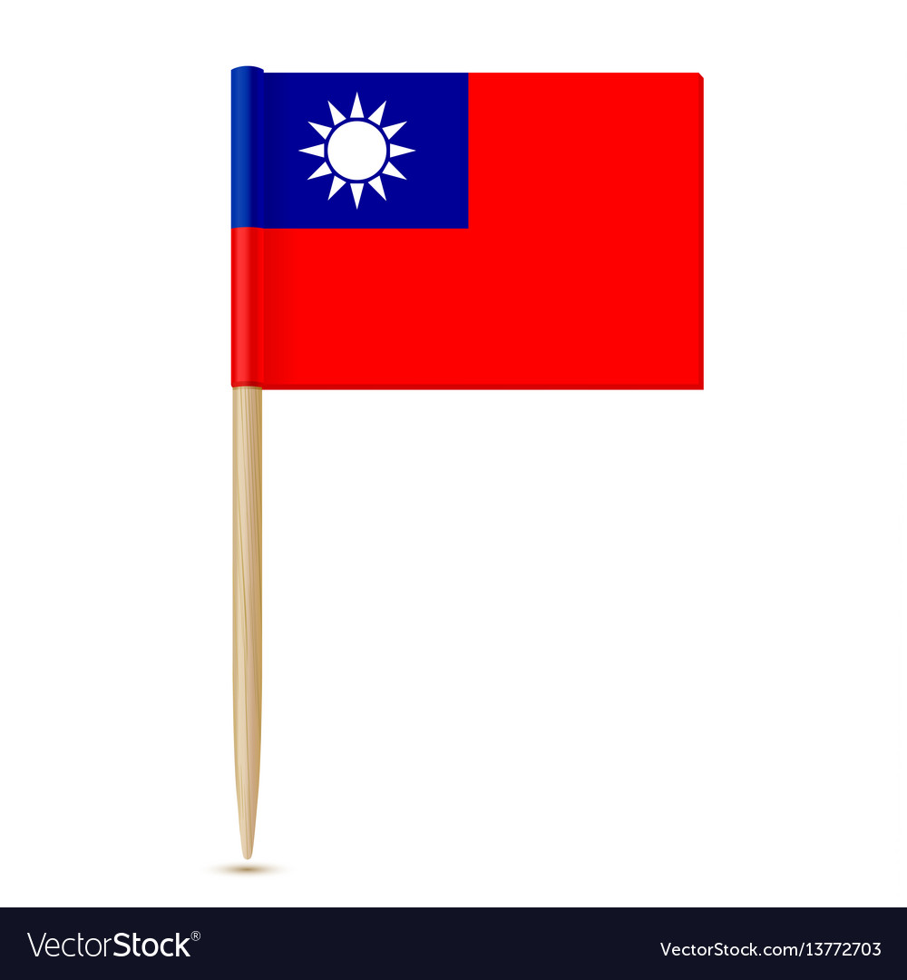 Republic of china flag toothpick vector image