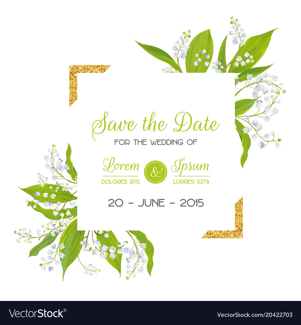 Save the date card with blossom lily valley Vector Image