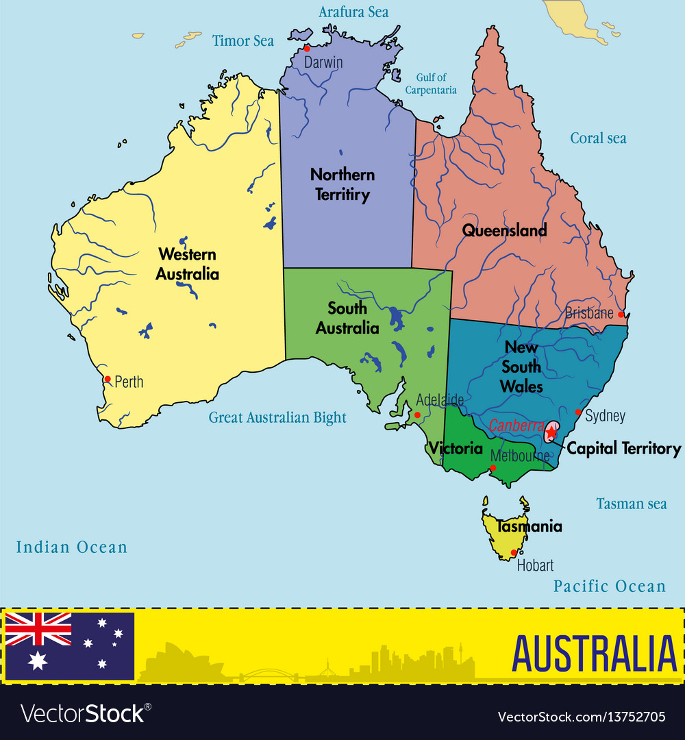 Australia Map With Regions And Their Capitals Vector Image - World map and their capitals