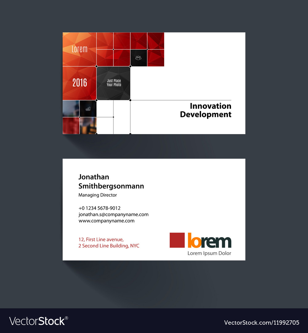 Business card template with rectangular Royalty Free Vector
