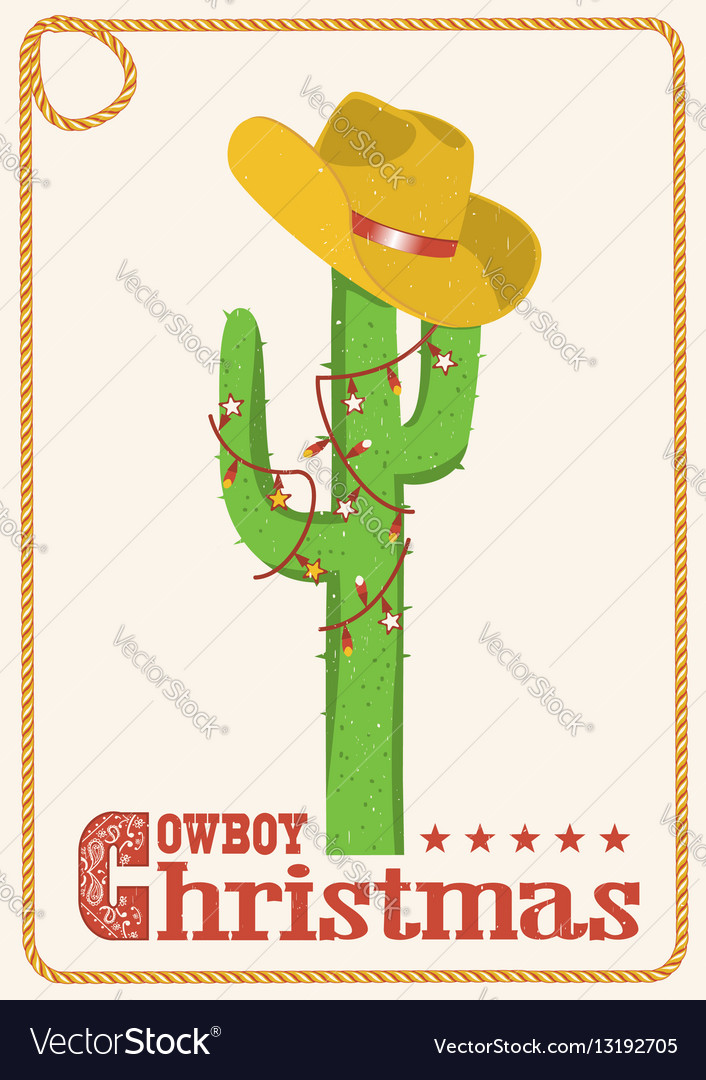 Cowboy christmas card with cactus and western hat vector image