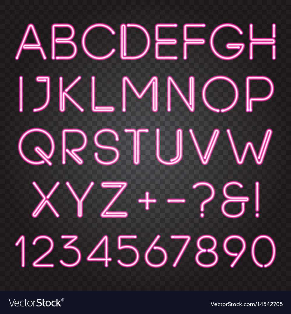 Glowing neon lights alphabet vector image