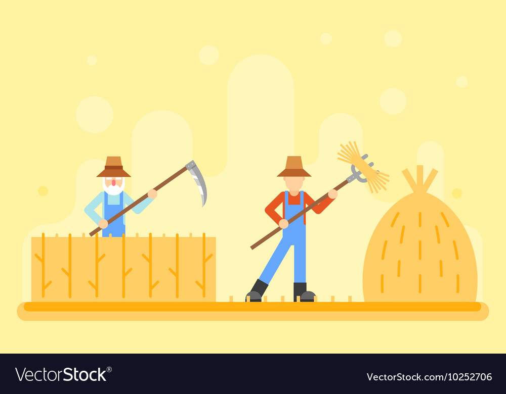Autumn hay peasant harvestman harvest Icon Village vector image