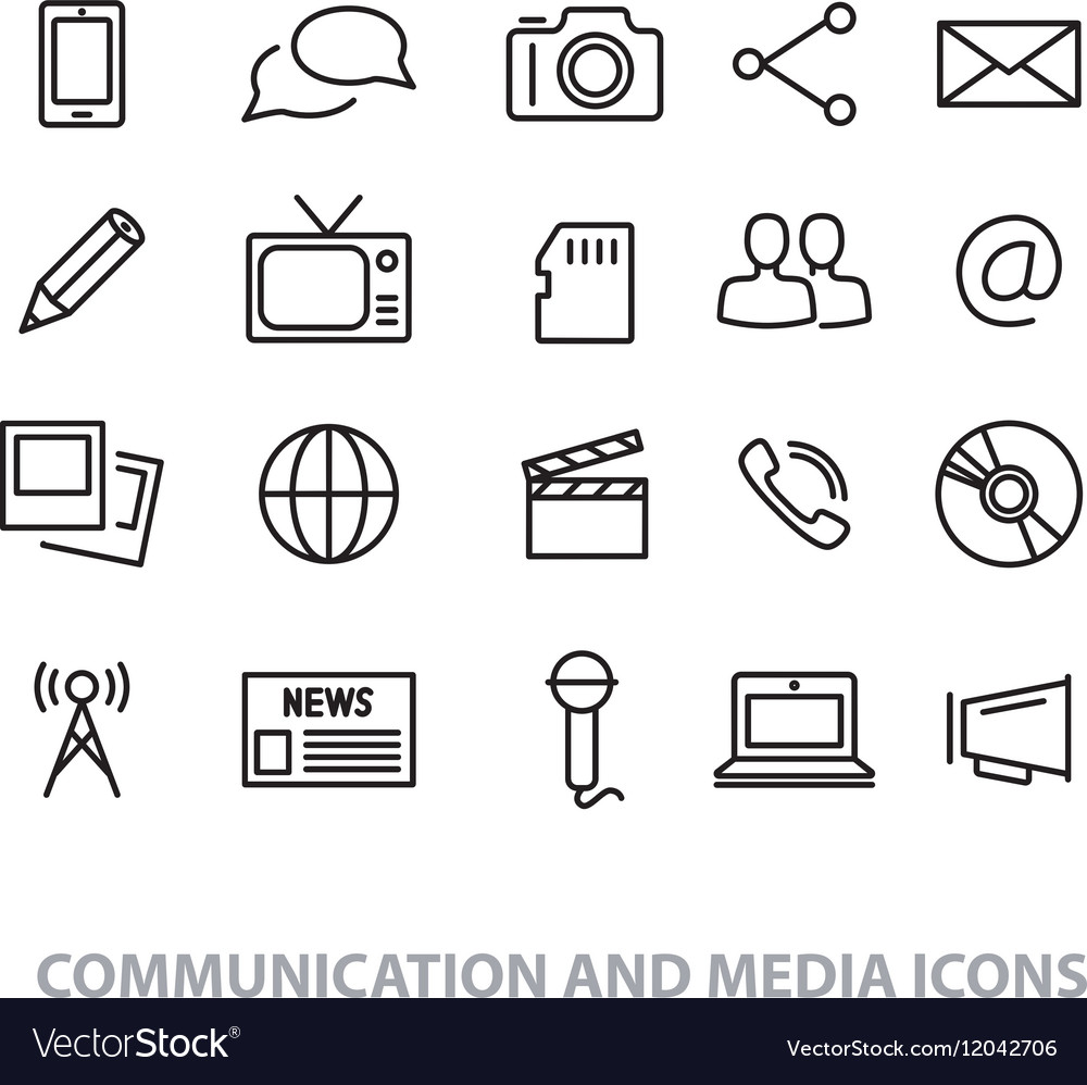 Communication and media line icons vector image