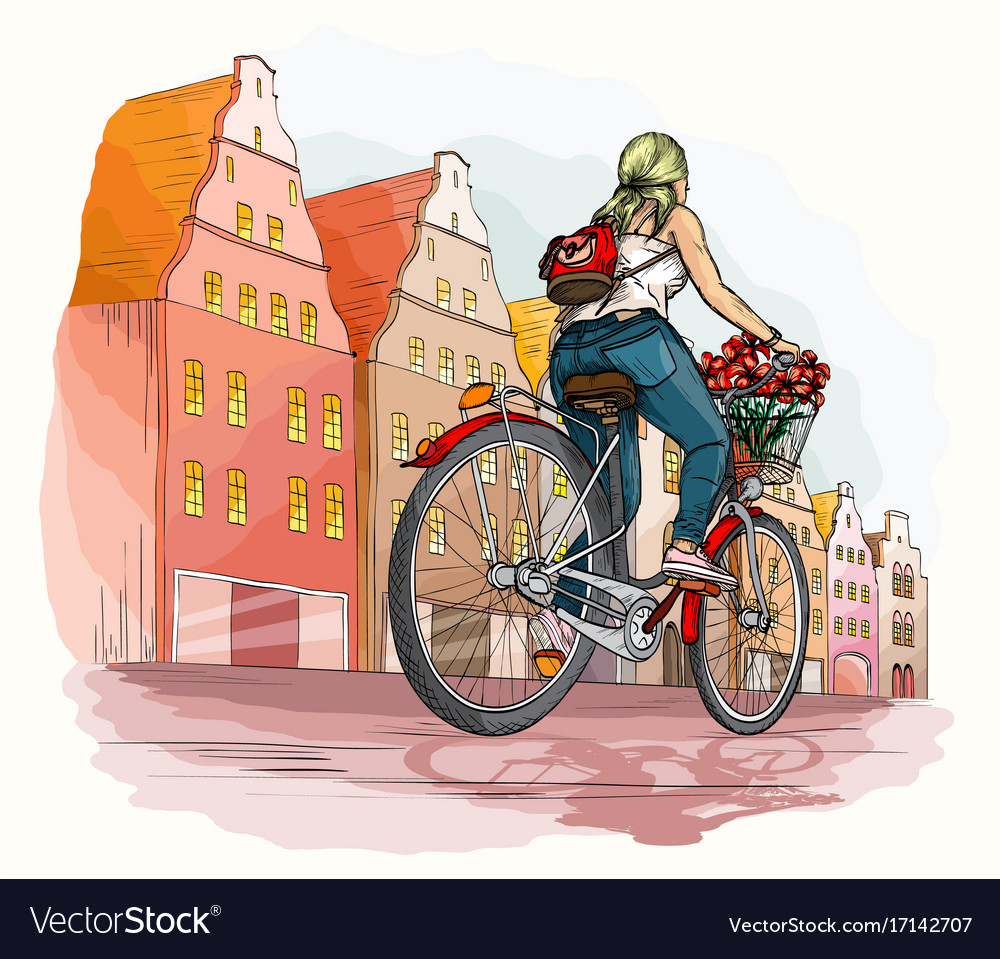 Bicyclist girl in city vector image