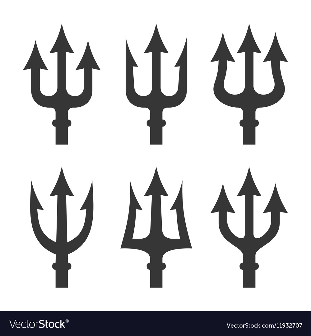 Trident Silhouette Set on White Background vector image