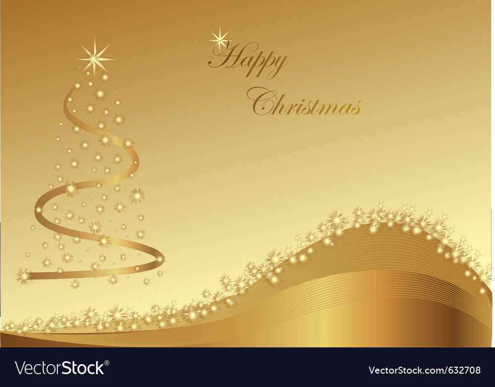 Gold christmas abstraction with stars on the gold vector image