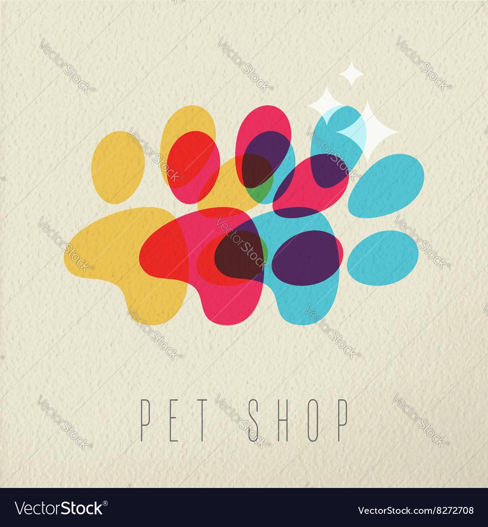 Pet shop color dog paw concept vector image