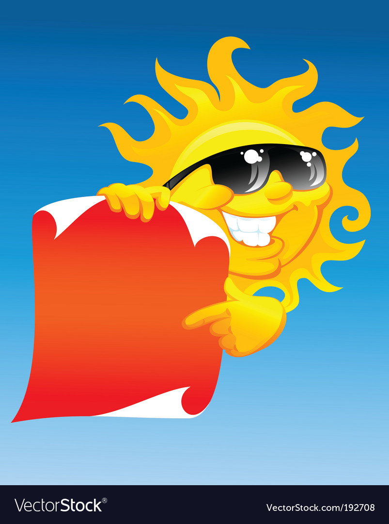 Sun and scroll vector image