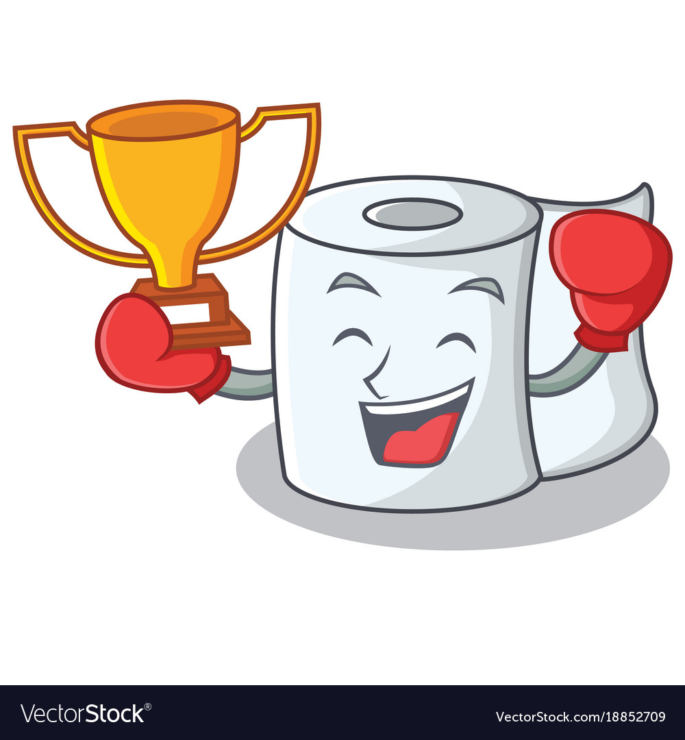 Boxing winner tissue character cartoon style vector image