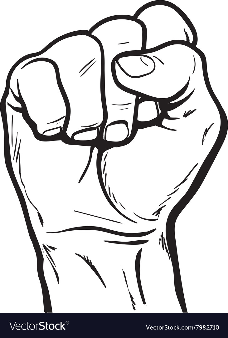 hand shows the fist as a symbol of power vector image