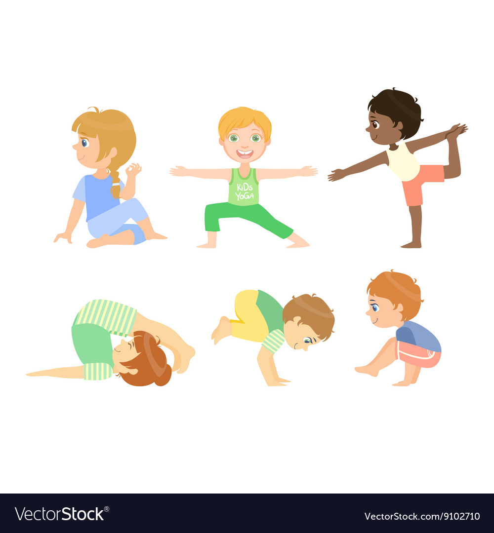 Kids Doing Advanced Yoga Poses vector image