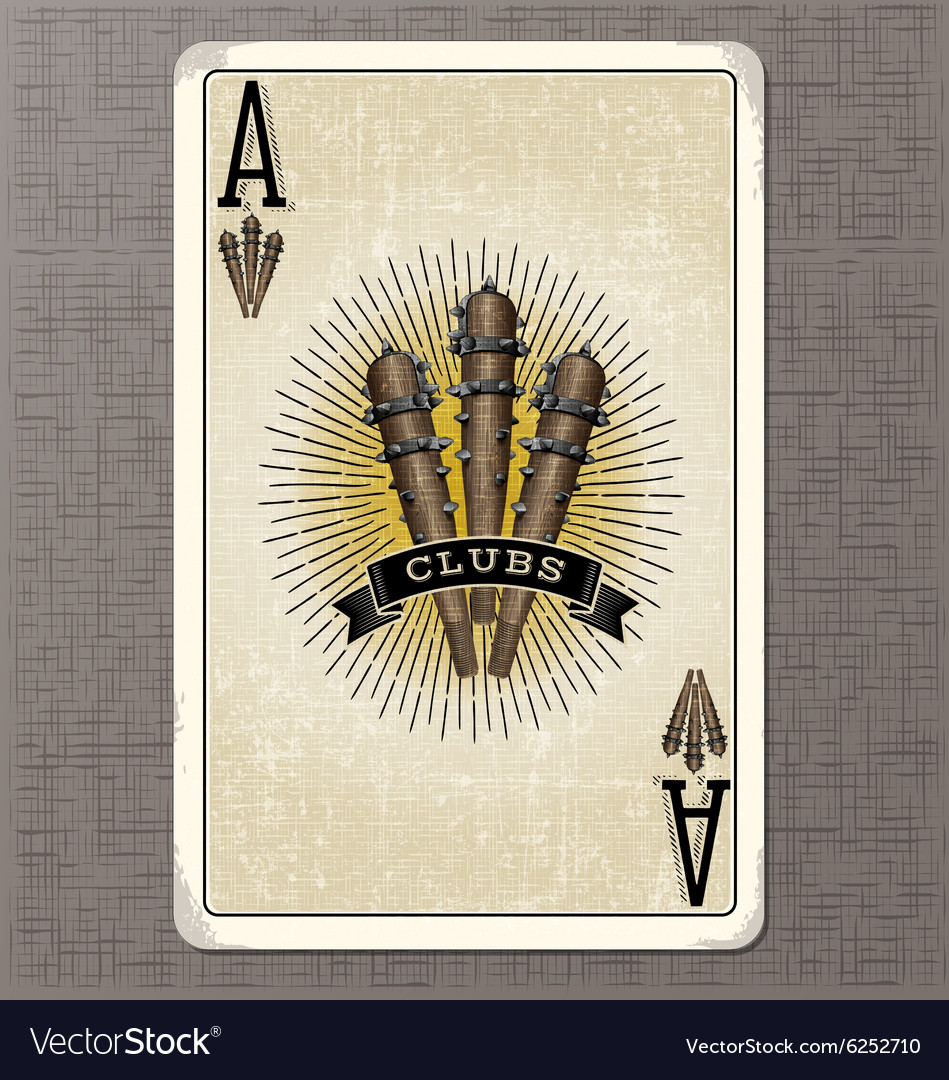 Vintage playing card ace of clubs vector image