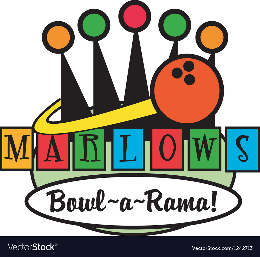 Retro Bowling Alley logos vector image